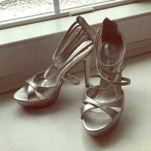 Aldo Silver heels. 4 inch heel.